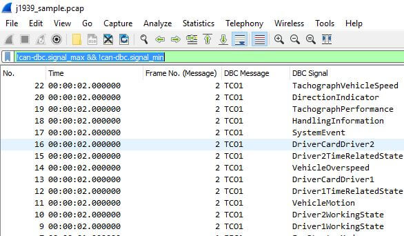 CAN DBC File - Convert Data in Real Time (Wireshark, J1939)