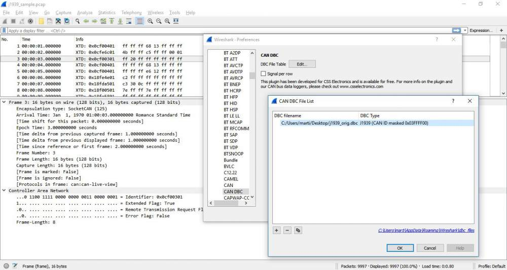 CAN Bus DBC Conversion Wireshark