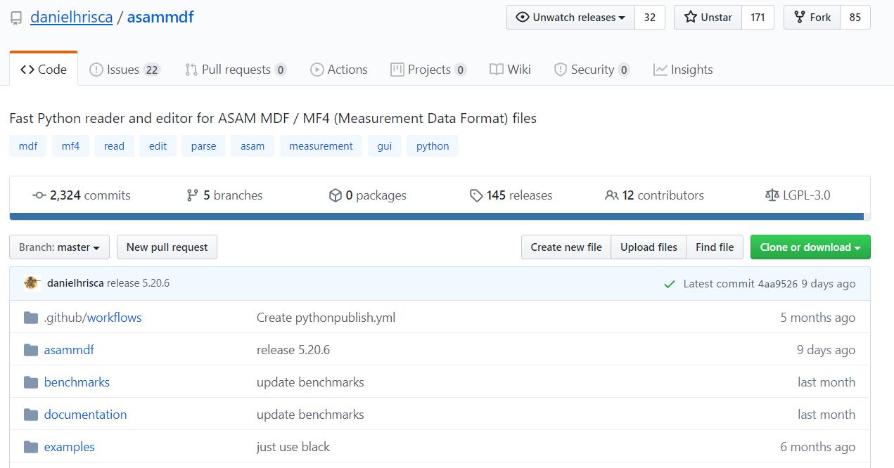 asammdf GUI API github ASAM MDF4 tool free open source