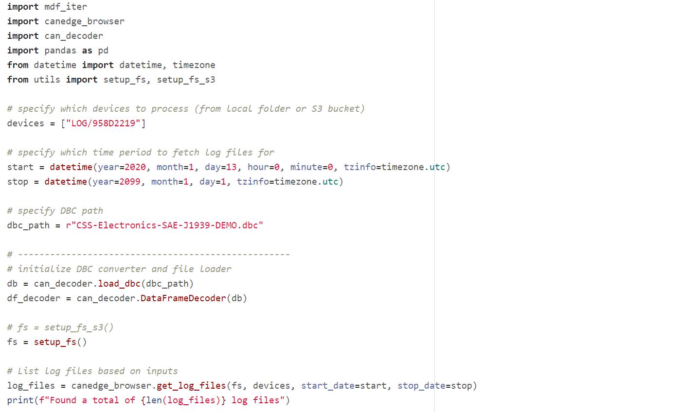Python API CAN bus DBC decoding