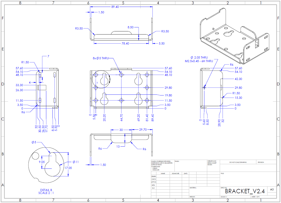 CANedge Mounting Bracket Drawing